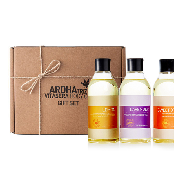 아로하트리즈 바디오일 솔루션 300ml 3종 선물세트 (쇼핑백증정)